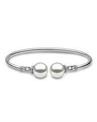 Yoko London 18K White Gold And Pearl Bangle With Diamonds