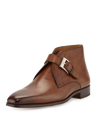 Magnanni Buckle Leather Boot Tobacco