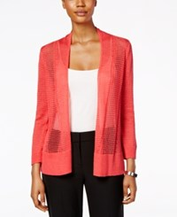 Alfani Mixed Stitch Cardigan Only At Macy's Coral Blast