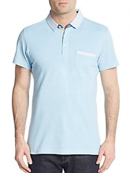 Saks Fifth Avenue Trim Fit Print Detailed Polo Shirt Light Blue