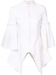 Christian Siriano Pleated Flounce Shirt White