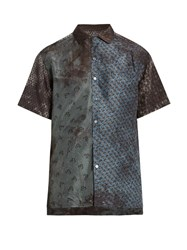 Lanvin Contrasting Print Short Sleeved Silk Shirt Blue Multi
