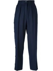Givenchy Vintage Button Detail High Waisted Trouser Blue