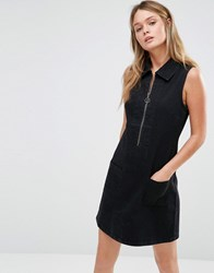 Only Retro Zip Front Denim Dress Black
