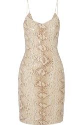 Mikael Aghal Snake Print Sequined Georgette Mini Dress Animal Print