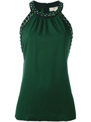 Michael Michael Kors Crystal Embellished Sleeveless Blouse Green
