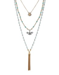 Lucky Brand Turquoise Natives Butterfly Layer Necklace Two Tone