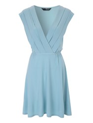 Jane Norman Pleat Collar Day Dress Light Blue