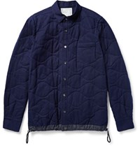 Sacai Shell Trimmed Quilted Cotton Shirt Navy