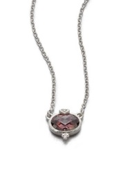 Judith Ripka La Petite Raspberry Crystal And Sterling Silver Pendant Necklace