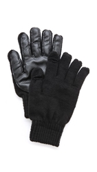 Plush Perforated Faux Leather Smartphone Gloves Black