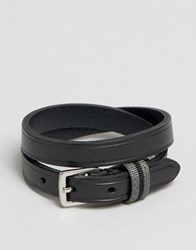 Polo Ralph Lauren Leather Wraparound Bracelet Black