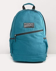 Heist Canvas Backpack With Leather Trims Green