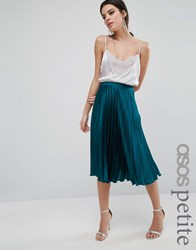 Asos Petite Midi Skirt In Pleated Satin Teal Green