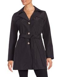 Larry Levine Semi Fitted Trench Coat Black