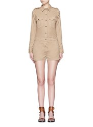 Frame Denim 'Citadel' Cotton Twill Military Rompers Green Brown