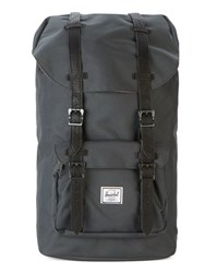 Herschel Charcoal Little America Leather Strap Backpack 25 L Grey
