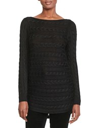 Lauren Ralph Lauren Cable Knit Cotton Sweater Black