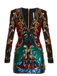Balmain Sequin Embellished Mini Dress Multi