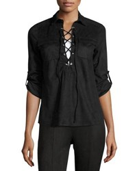 Cirana Faux Suede Lace Up Shirt Black