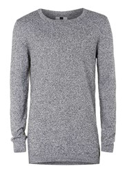 Topman Black And White Twist Longline Crew Neck Jumper Mid Grey