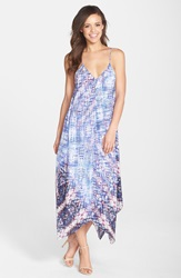 Charlie Jade Print Silk Crepe Handkerchief Hem Maxi Dress Blue Multi