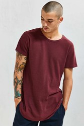 Feathers French Rib Long Loose Scoopneck Tee Maroon