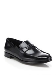 Giorgio Armani Spazzolato Ga Bit Calf Leather Loafers Black
