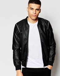 Eclipse Faux Leather Bomber Black