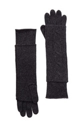 Portolano Cashmere Cable Knit Long Fingerless Gloves Gray