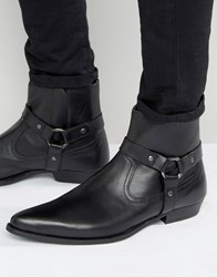 Asos Pointed Chelsea Boots In Black Leather With Strap Detail Black