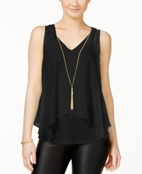 Amy Byer Bcx Juniors' Flyaway Front Tank Top With Necklace Black