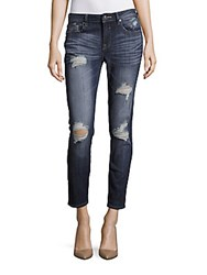 Vigoss Distressed Six Pocket Cropped Denim Pants Medium Wash
