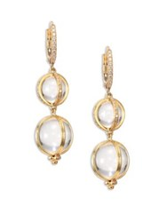 Temple St. Clair Double Amulet Rock Crystal Diamond And 18K Yellow Gold Drop Earrings