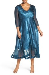 Komarov Plus Size Women's Embellished V Neck Charmeuse And Chiffon Tea Length Dress