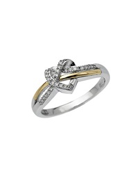 Lord And Taylor Sterling Silver And 14Kt. Yellow Gold Heart Ring With Diamonds Gold Silver