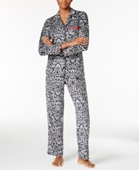 Ellen Tracy Printed Pajama Set Black Scroll Print