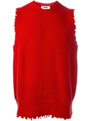 Msgm Frayed Sweater Vest Red