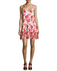 Alexis Clement Sleeveless Netted Mini Dress Ruby Ruby Embroidery