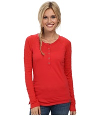 Smartwool Burnout Henley L S Top Hibiscus Women's Long Sleeve Pullover Pink