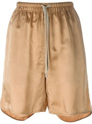 Rick Owens Loose Fit Shorts Nude And Neutrals