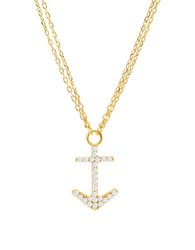 Lord And Taylor Cubic Zirconia Anchor Necklace Gold
