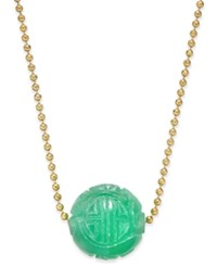 Macy's Jade Carved Ball Beaded Pendant Necklace 12Mm In Sterling Silver And Gold Plated Silver Yellow Gold
