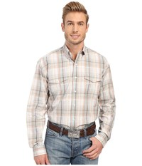 Stetson Sand Plaid Button Front Long Sleeve Shirt Grey Men's Clothing Gray