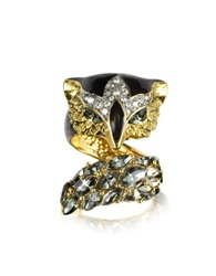 Roberto Cavalli Fox Brass And Crystal Ring Black