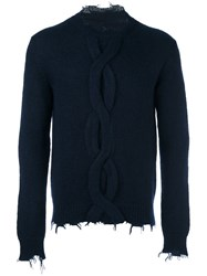 Etro Cable Knit Frayed Edges Jumper Blue