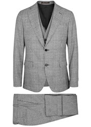 Oscar Jacobson Egel Grey Three Piece Stretch Wool Suit