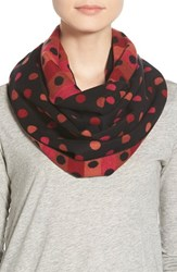 Women's Chelsey Dot Print Silk Infinity Scarf Red Black Red