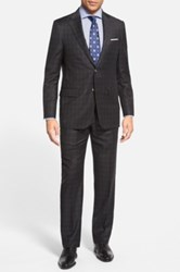 Hickey Freeman 'Traveler' Classic Fit Plaid Wool Suit Black