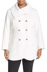 Plus Size Women's Jessica Simpson Double Breasted Basket Weave Coat Ivory